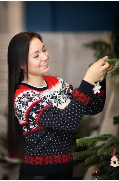 Moteriškas kalėdinis megztukas R-765