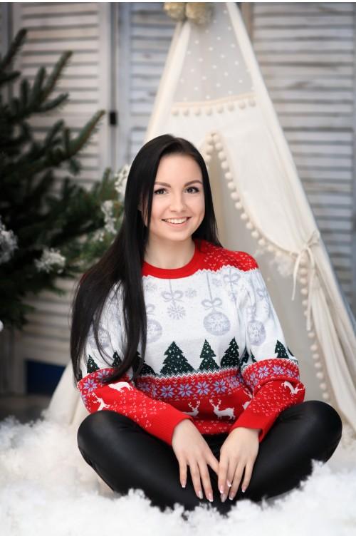Moteriškas kalėdinis megztukas R-848